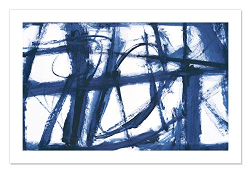"Casa Fine Arts Playful Indigo and White Contemporary Abstract Wall Art Archival Print, 36"" x 24"", Blue von Casa Fine Arts"