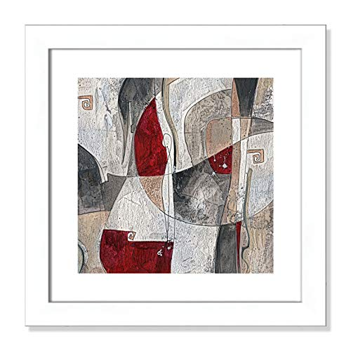 "Casa Fine Arts Red Rock II Contemporary Modern Abstract Wall Art Archival Print, 16"" x 16"", Matte White Frame von Casa Fine Arts"