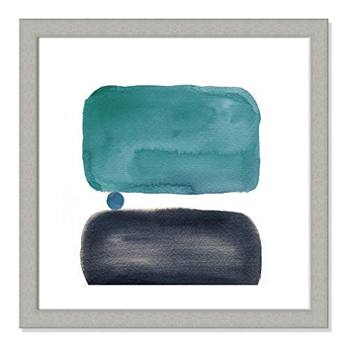 "Casa Fine Arts Retro Elements Teal III Mid Century Modern Abstract Wall Art Archival Watercolor Print, 22.5"" x 22.5"", Brushed Silver Frame von Casa Fine Arts"