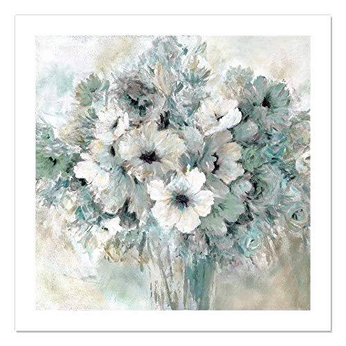 "Casa Fine Arts Sent with Love Classic White and Grey Floral Wall Art Archival Print, 31"" x 31"", von Casa Fine Arts"