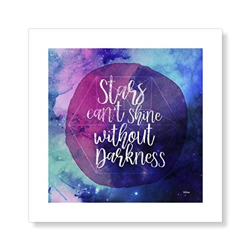 "Casa Fine Arts Shining Stars Boho Galaxy Space Quotes Wall Art Archival Print, 10"" x 10"", Blue and Purple von Casa Fine Arts"