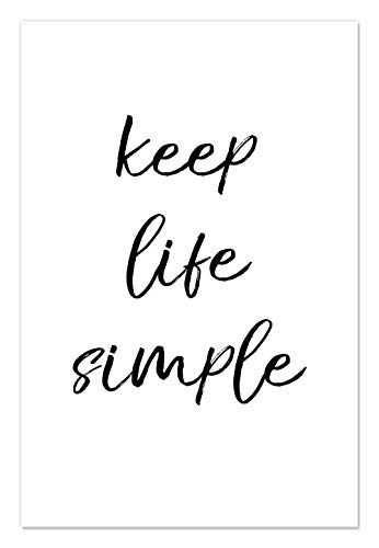 "Casa Fine Arts Simple Life Black and White Inspirational Quote Wall Art Archival Print, 24"" x 36"", von Casa Fine Arts"