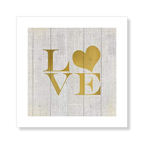 "Casa Fine Arts Stitched Love Canvas Texture Gold Romantic Wall Art Archival Print, 10"" x 10"", von Casa Fine Arts"