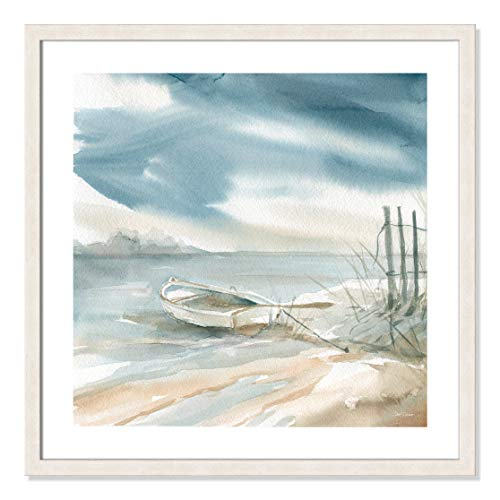 "Casa Fine Arts Subtle Mist III Sailboats Coastal Nautical Wall Art Archival Watercolor Print, 26.5"" x 26.5"", White Woodgrain Texture Frame von Casa Fine Arts"