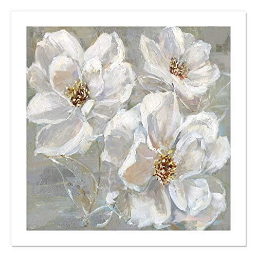 "Casa Fine Arts Summer Solstice I White and Grey Transitional Floral Wall Art Archival Print, 31"" x 31"", von Casa Fine Arts"