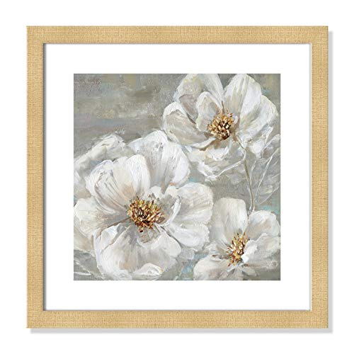 "Casa Fine Arts Summer Solstice II White and Grey Transitional Floral Wall Art Archival Print, 16"" x 16"", Champagne Frame von Casa Fine Arts"