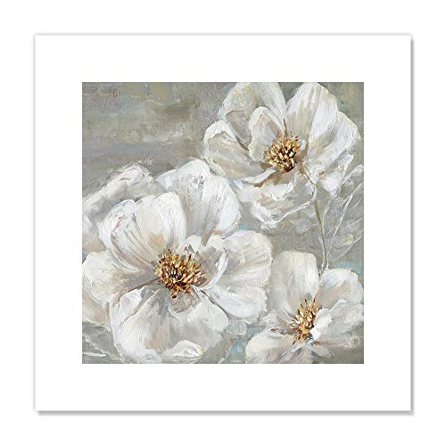 "Casa Fine Arts Summer Solstice II White and Grey Transitional Floral Wall Art Archival Print, 16"" x 16"", von Casa Fine Arts"