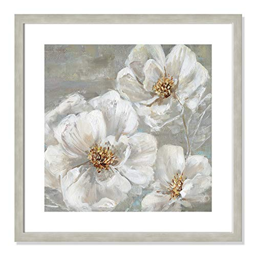 "Casa Fine Arts Summer Solstice II White and Grey Transitional Floral Wall Art Archival Print, 22.5"" x 22.5"", Warm Silver Frame von Casa Fine Arts"