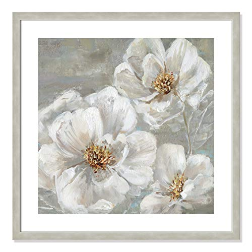 "Casa Fine Arts Summer Solstice II White and Grey Transitional Floral Wall Art Archival Print, 26.5"" x 26.5"", Warm Silver Frame von Casa Fine Arts"