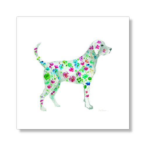 "Casa Fine Arts Tapestry Labrador Floral Pet Cute Quirky Dog Wall Art Archival Watercolor Print, 10"" x 10"", Multicolor von Casa Fine Arts"