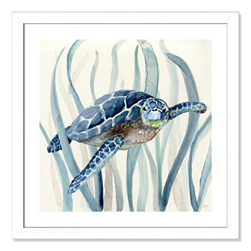 "Casa Fine Arts Turtle in Seagrass I Tropical Sea Life Wall Art Archival Watercolor Print, 26.5"" x 26.5"", Matte White Frame von Casa Fine Arts"