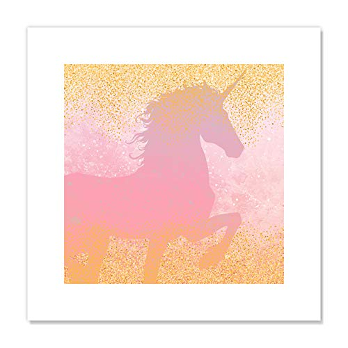 "Casa Fine Arts Unicorns Are Real I Pink and Gold Fantasy Glitter Sparkly Wall Art Archival Print, 16"" x 16"", von Casa Fine Arts"