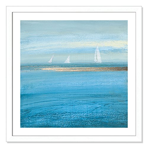 "Casa Fine Arts Waiting on The Wind I Blue Modern Sailboats Nautical Wall Art Archival Print, 31"" x 31"", Matte White Frame von Casa Fine Arts"