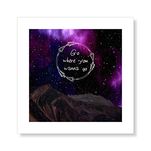 "Casa Fine Arts Wanna Go Boho Celestial Galaxy Astrology Inspirational Wall Art Archival Print, 10"" x 10"", Purple von Casa Fine Arts"