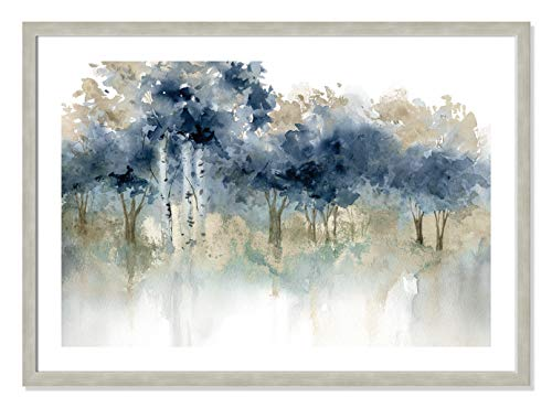 "Casa Fine Arts Waters Edge I Indigo and Beige Forest Landscape Archival Watercolor Art Print, 34.5"" x 24.5"", Warm Silver Frame von Casa Fine Arts"