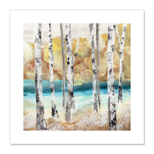 "Casa Fine Arts Yellow Watercolor Trees II Scenic Forest Landscape Wall Art Archival Print, 20"" x 20"", Multicolor von Casa Fine Arts"
