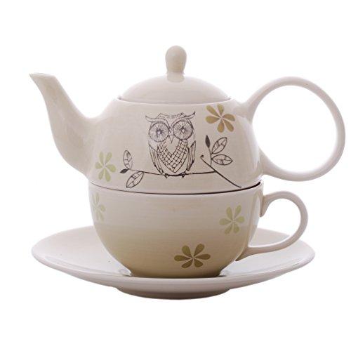 0,4 l Cha Cult Tea-for-one-Set Dahlia Keramik 0,2 l 4-teilig Kanne Tasse