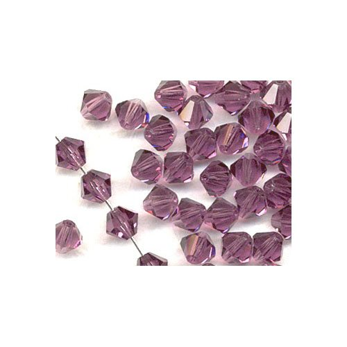 Charming Beads Strang 100+ Violett Tschechische Kristall 3mm Facettiert Doppelkegel Perlen - (GB8652-1) von Charming Beads