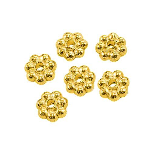 Charming Beads Paket 100+ Gold Tibetanische 5mm Spacer Blume Perlen HA15580 von Charming Beads