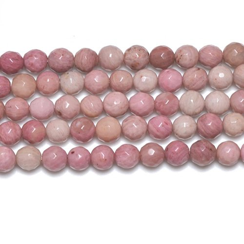 Strang 62+ Pink Rhodonit 6mm Facet Rund Perlen GS2776-1 (Charming Beads) von Charming Beads