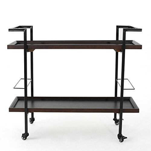Christopher Knight Home Gerard Industrial Barwagen aus Holz, Dunkles Walnussholz-Finish, Schwarz von Christopher Knight Home