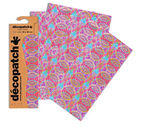 Decopatch Papier No. 394 (pink Kreisornamente gold, 395 x 298 mm) 3er Pack von Clairefontaine