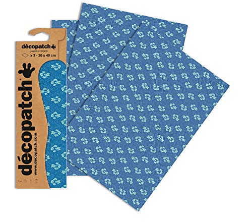 Decopatch Papier No. 752 (blau Stickblümchen, 395 x 298 mm) 3er Pack von Clairefontaine