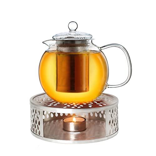 Ideal zur Zubereitung von Losen Tees Creano Teekanne aus Glas 1,0l tropffrei 3-Teilige Glasteekanne mit Integriertem Edelstahl-Sieb und Glas-Deckel All-in-One