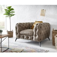 Clubsessel Corleone 120x97 cm Taupe Vintage Microvelours Loungesessel von DELIFE