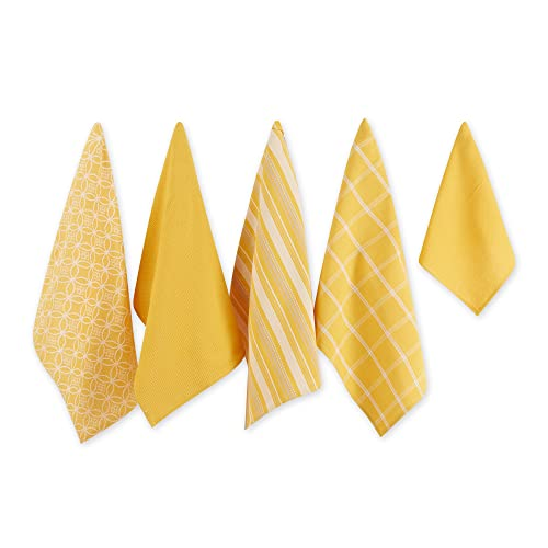 DII Cotton Oversized Kitchen Dish Towels 18 x 28 and Dishcloth 13 x 13, Set of 5, Absorbent Washing Drying Dishtowels for Everyday Cooking and Baking-Mustard von DII