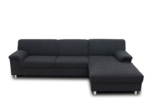 DOMO. collection Jamie Ecksofa | Sofa mit Schlaffunktion | Couch in L-Form, modernes Schlafsofa, anthrazit, 251x150x72 cm von DOMO. collection