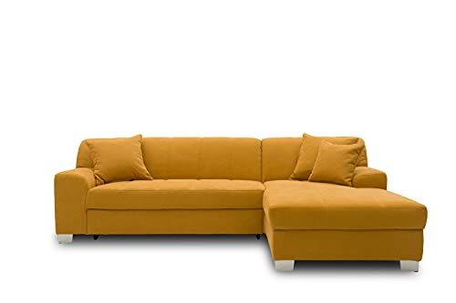 DOMO collection Capri Ecksofa | Eckcouch in L-Form mit Schlaffunktion, Polsterecke Schlafsofa, mango gelb, 239x152x75 cm von DOMO. collection