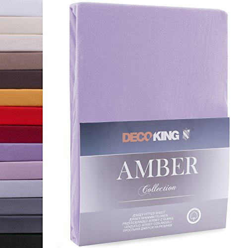 DecoKing 18170 80x200-90x200 cm Spannbettlaken violett 100% Baumwolle Jersey Boxspringbett Spannbetttuch Bettlaken Betttuch Violet Amber Collection von DecoKing