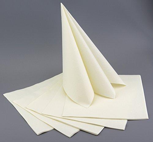 100 Stück Servietten Creme Ivory Stoffähnlich 40 X 40 Cm Premium Einweg  Mundservietten Zum Falten Hochzeit Hochzeitsservietten Geburtstag Taufe  Tischdeko ...
