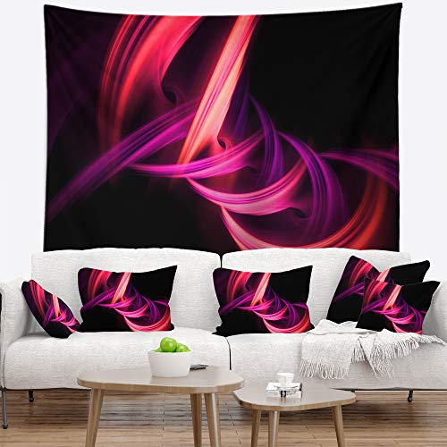 "Designart Wandteppich""Fractal Purple Connected Stripes"", modernes Design, Wanddekoration für Zuhause und Büro, hergestellt auf leichtem Polyester-Stoff, Groß: 152,4 x 127 cm von Design Art"