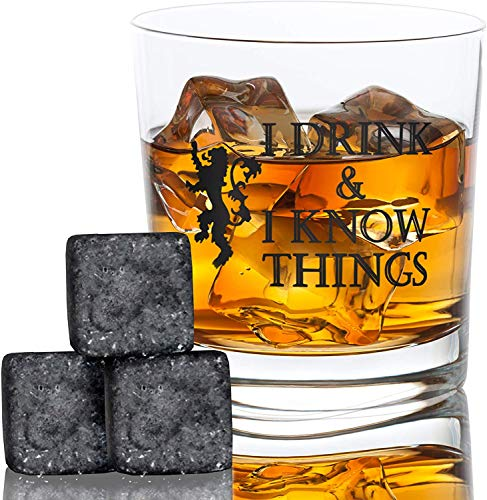"Desired Cart Whiskey-Glas mit Aufschrift ""I Drink and I Know Things"", Bourbon Scotch, inspiriert von Game of Thrones, lustiges Geschenk von Desired Cart"