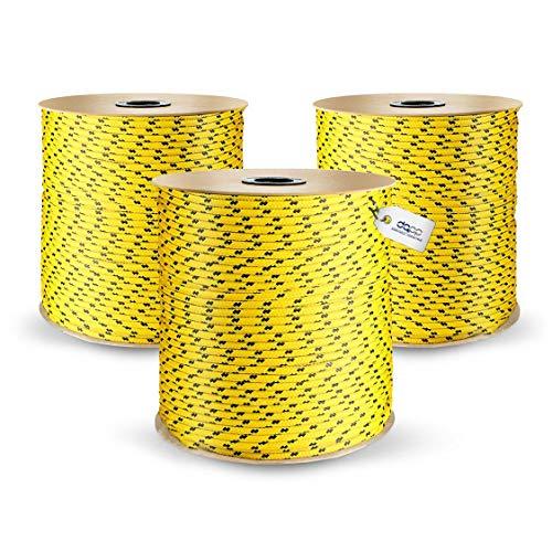 3mm DQ-PP POLYPROPYLENSEIL Tauwerk PP Flechtleine Textilseil Reepschnur Leine Schnur Festmacher Rope Kordel Kunststoffseil Kletterseil geflochten SCHWARZ Polypropylen Seil 50m