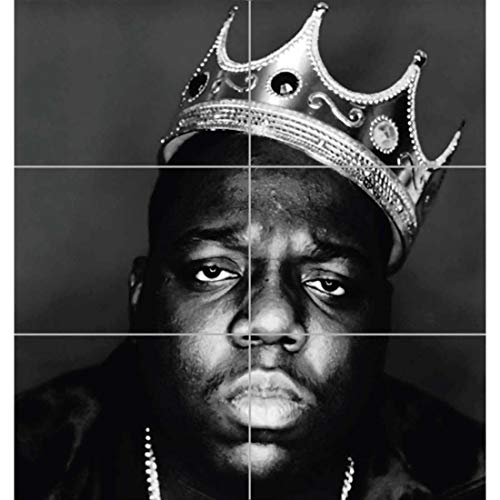 NOTORIOUS B I G BIGGIE GIANT HIP HOP RAPPER LEGEND BLACK WHITE KING CROWN ART PRINT POSTER PLAKAT DRUCK EN845 von Doppelganger33 LTD