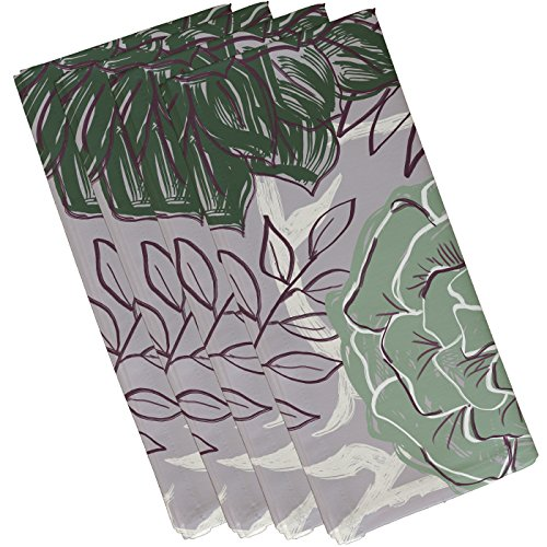 "E By Design Flowers & Fronds Floral Print Napkin, 10"" by 10"", Pale celery von E by design"