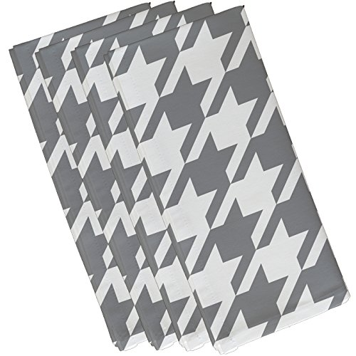 "E By Design Houndstooth Geometric Print Napkin, 10"" by 10"", Classic Gray von E by design"