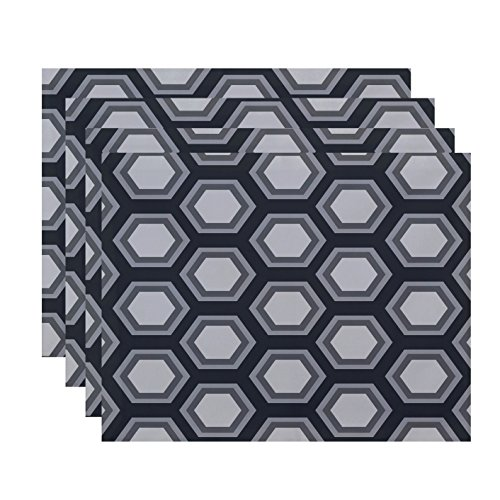 "E by design Hex Appeal Geometric Print Placement, 18"" by 14"", Steel Gray von E by design"