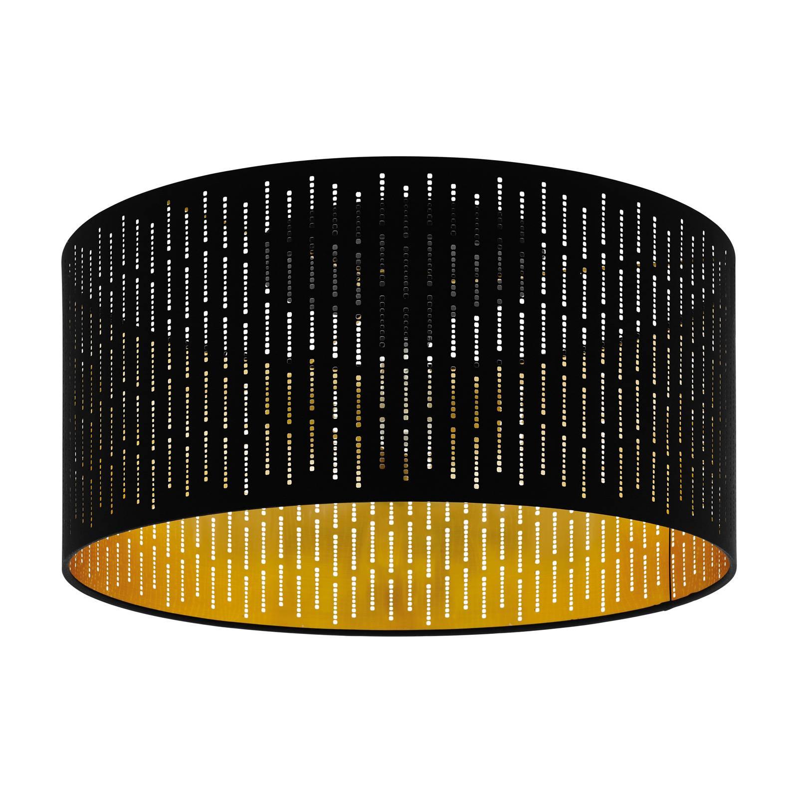 Deckenlampe Vasilia Lampenwelt Stoff Schwarz Gold Zylinder Schirm Flurleuchte