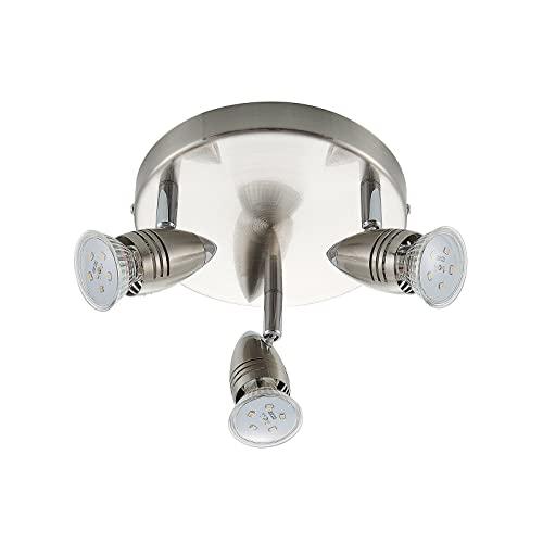 IMPTS LED Deckenstrahler 1 flammig Deckenleuchte Wohnzimmerlampe Deckenspot Schwenkbar lamp inkl 1 x 3W Leuchtmittel GU10 Warmwei/ß Matt Nickel