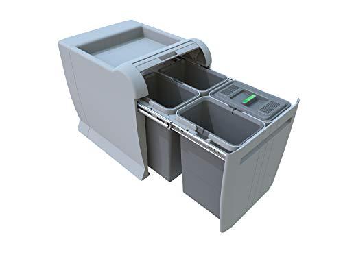 ELLETIPI Ecofil PF01/34B1/M/ülleimer M/ülltrennung ausziehbar f/ür Base 30/x 45/x 36/cm Kunststoff und Metall Grau