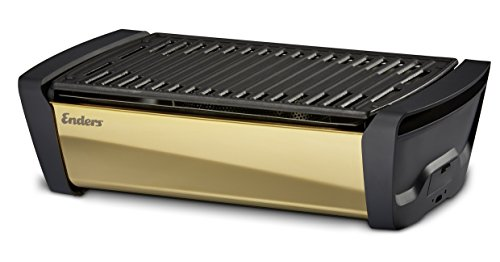 Enders 1369 Aurora Mirror raucharmer Tischgrill, mit Guss-Grill-Rost, Holzkohle-Grill, Grill klein, Balkon-Grill, Picknick-Grill, Camping-Grill, rauchfreier Tischgrill, Grill mit Belüftung, gold von Enders
