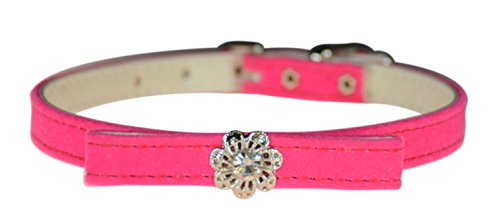 "Evans Collars 3/8"" Jeweled and Filigree Collar with Bow, Size 14, Velvet, Pink von Evans Collars"
