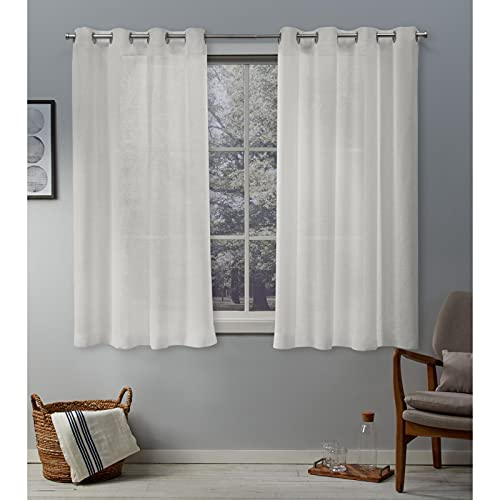 Exclusive Home Curtains Belgian Textured Linen Look Jacquard Sheer Grommet Top Curtain Panel Pair, 50x63, Snowflake von Exclusive Home Curtains