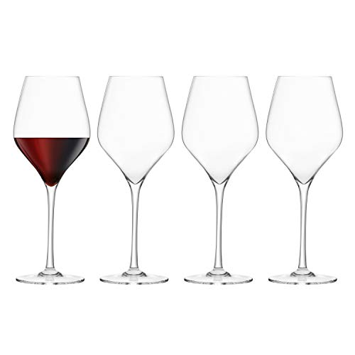 Final Touch Pack of 4 100% Lead-Free Crystal Red Wine Glasses Rotweingläser Kristallglas Hergestellt mit DuraSHIELD Titanium verstärkt für erhöhte Haltbarkeit Tall 26 cm 620ml - Packung mit 4 Stück von FINAL TOUCH
