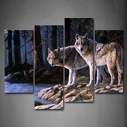 Two Wolf Stand On River Bank Forest Wall Art Painting Wolves Pictures Print On Canvas Animal The Picture for Home Modern Decoration von First Wall Art