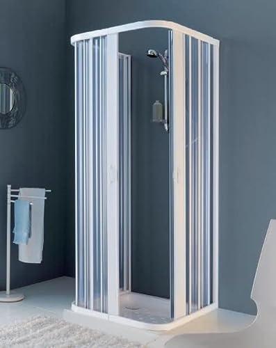 H 185 cm Duschfaltwand Duschabtrennung Glas mit Streifen Duscht/üre in Echtsicherheitsglas 3 mm stark 70-75 cm Diverse Breiten Profile Aluminium Silber Satiniert